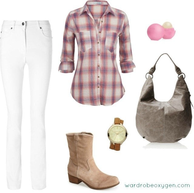Ideas on how to style white jeans in winter by Wardrobe Oxygen