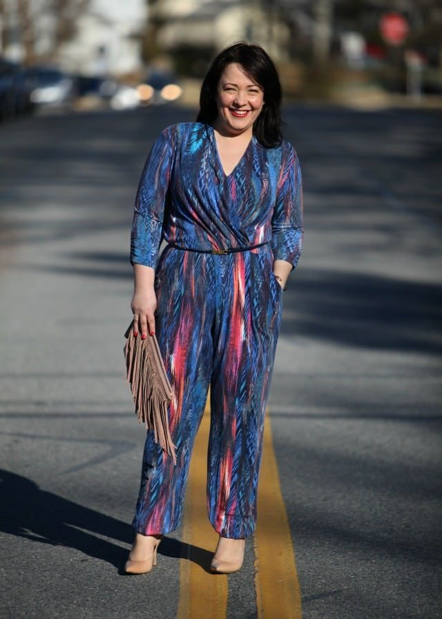 Wardrobe Oxygen What I Wore: Blue Jumpsuit from Serena Williams for HSN, BCBGeneration suede fringe clutch, Nine West Flax pumps