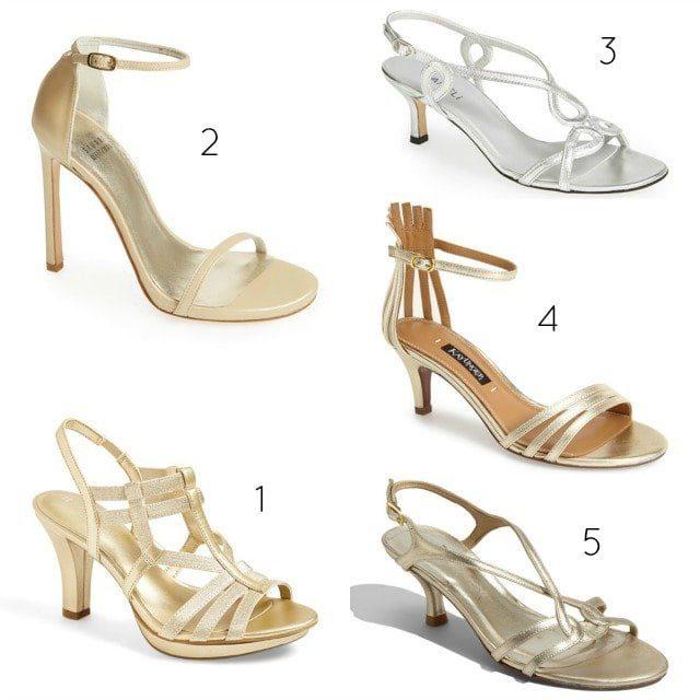 wide width metallic heels