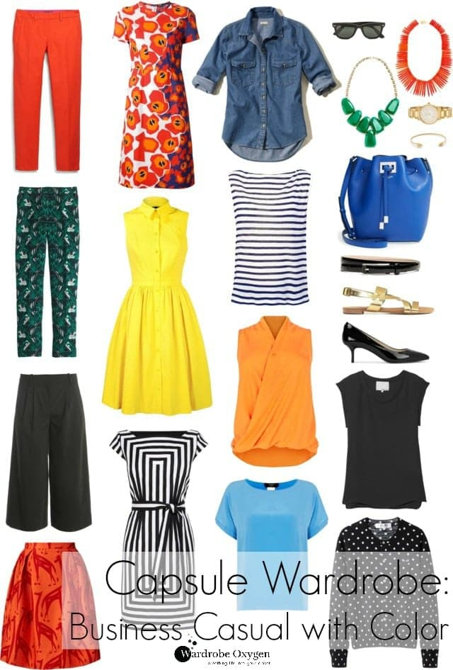 Summer capsule wardrobe - Business casual with color and personality, perfect for teachers! By Wardrobe Oxygen