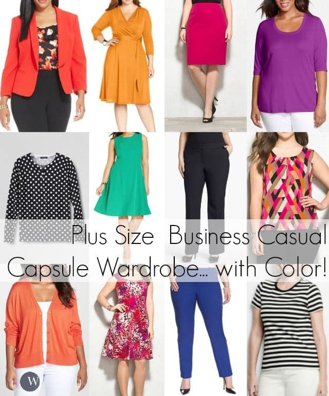 4e4e3bb3276 plus size capsule wardrobe business casual work fashion with color