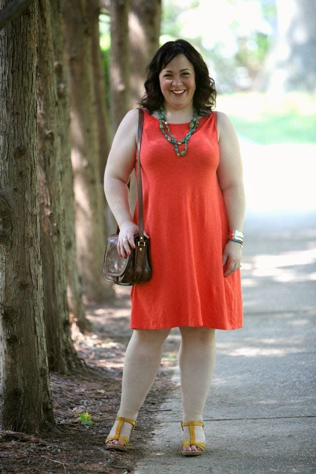 What I Wore Orange Eileen Fisher Linen Knit dress with yellow sandals from Born via Wardrobe Oxygen