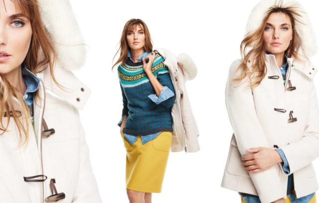 Talbots Fall 2015 Look Book Preview Featuring Blue Fair Isle Sweater with Yellow Skirt