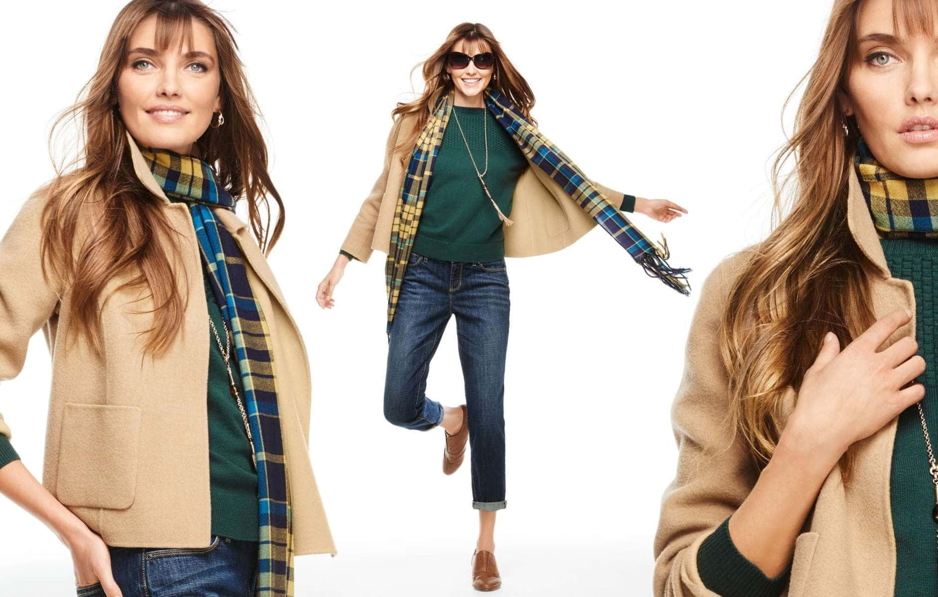Talbots Fall 2015 Look Book Preview Featuring Camel, Green, and Denim with Plaid