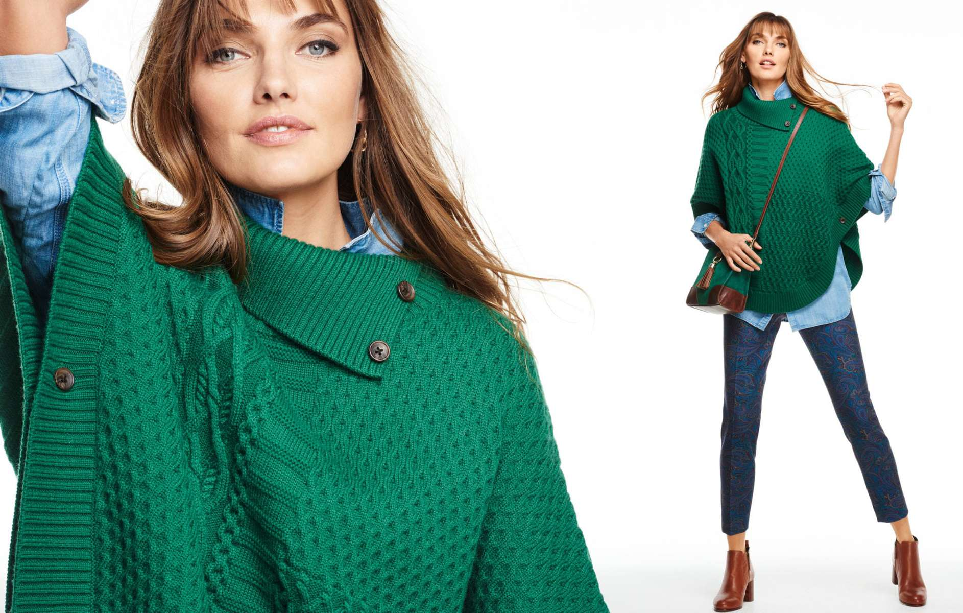 Talbots Fall 2015 Look Book Green Poncho Sweater