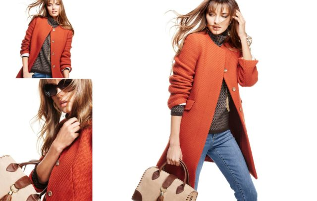 Talbots Fall 2015 Look Book Preview Featuring Orange Collarless Jacket