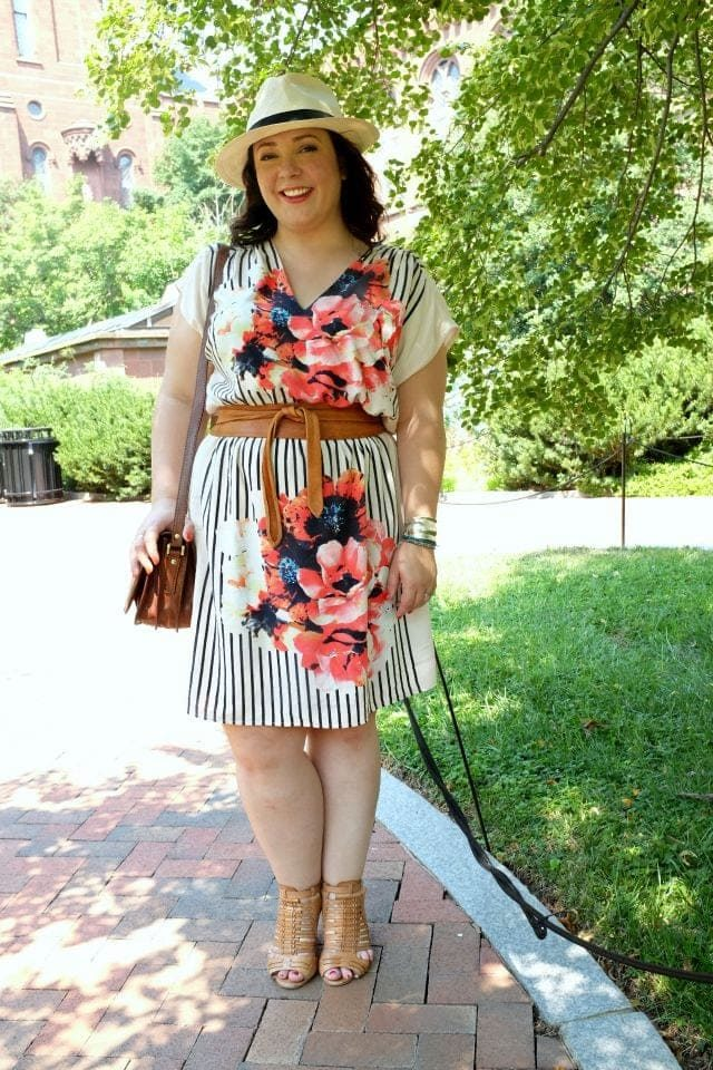 Wardrobe Oxygen wearing a Gwynnie Bee dress, Maxwell Scott bag, and ADA Collection belt