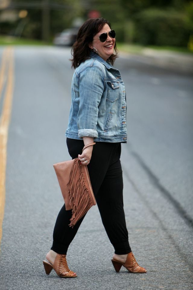 Wardrobe Oxygen featuring a BCBGeneration fringe clutch, J. Crew Factory denim jacket, and Vince Camuto sandals