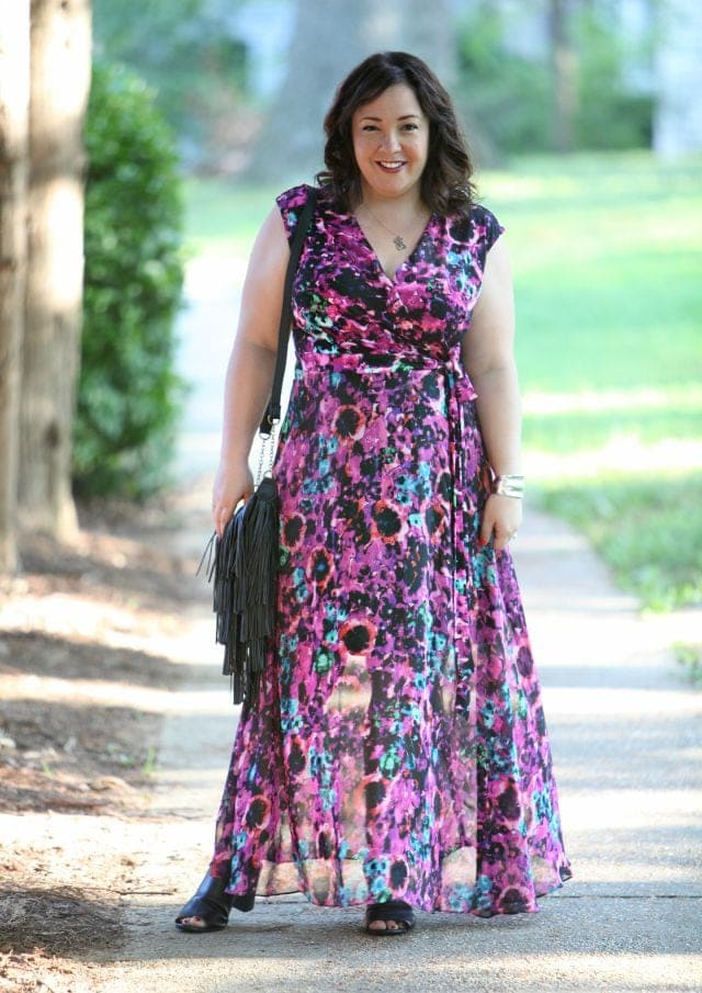 Wardrobe Oxygen outfit post featuring Taylor Dresses floral maxi wrap dress and fringed bag