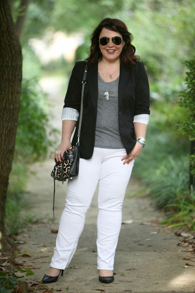 Wardrobe Oxygen wearing a Vince Camuto Blazer, Jag Paley Bootcut Jeans and a Rebecca Minkoff Mini MAC