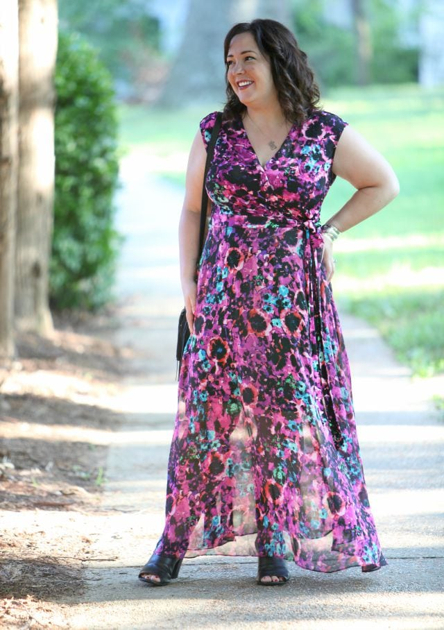 Wardrobe Oxygen wearing a floral wrap maxi from Taylor Dresses via Gwynnie Bee