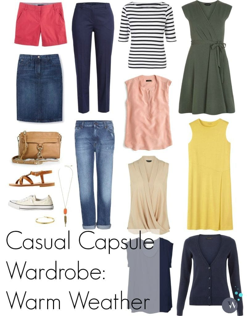 casual capsule wardrobe warm weather after college or casual workplace