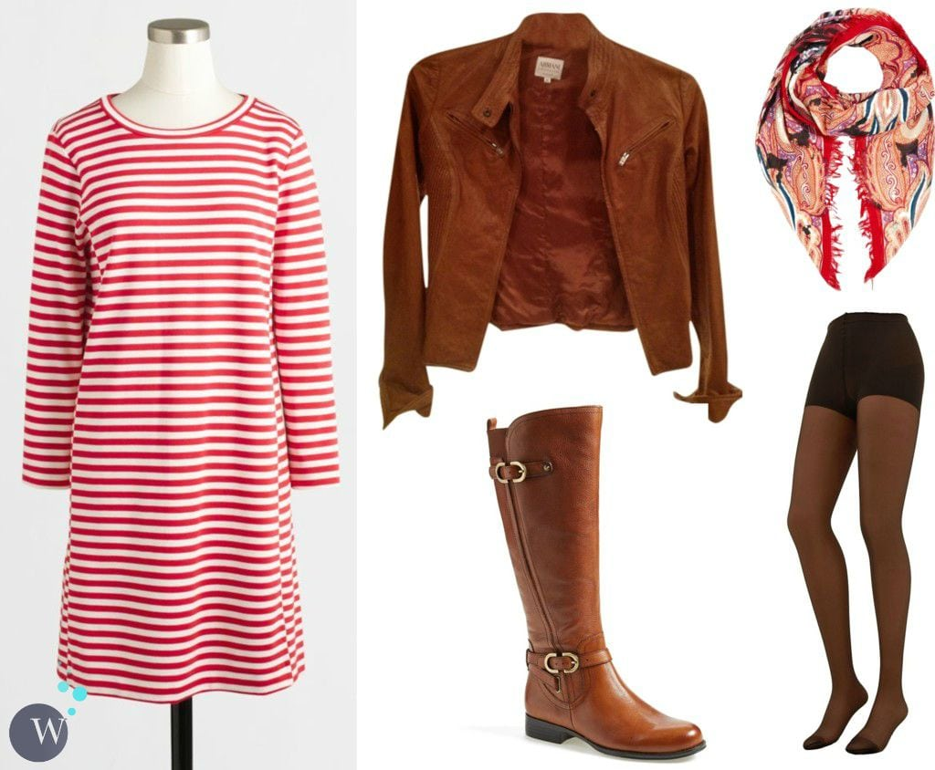 how to style j crew factory striped knit dress for fall and winter