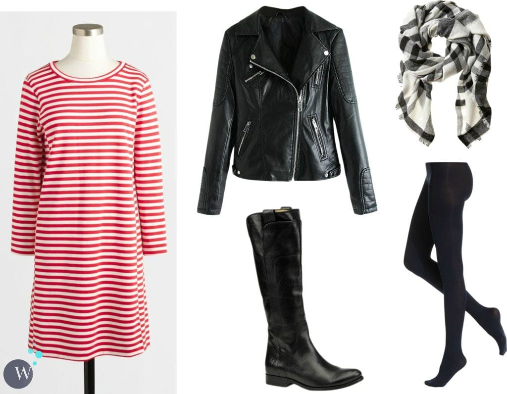 how to style striped knit dress for fall and winter