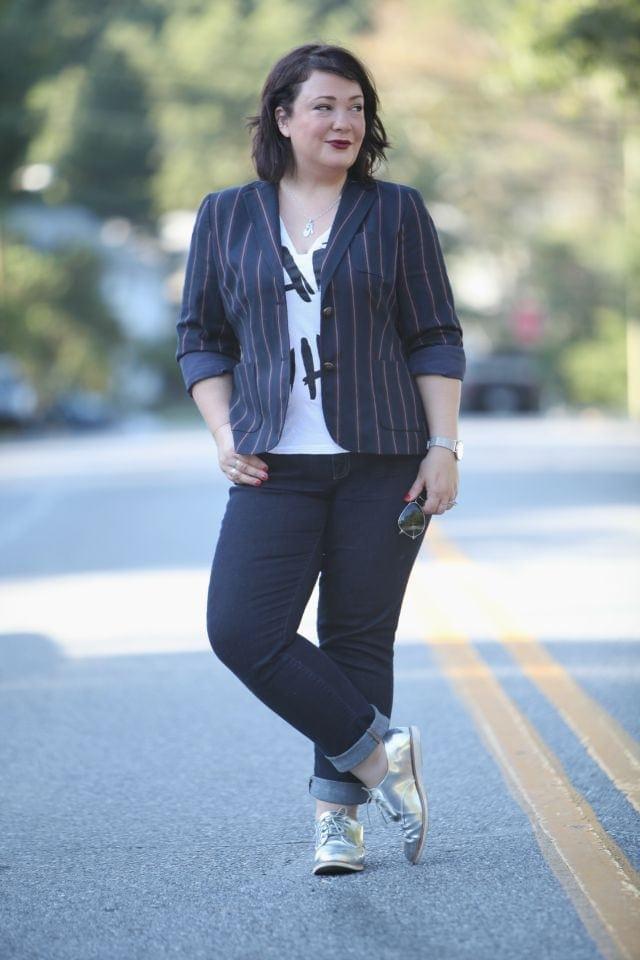 Alison Gary of Wardrobe Oxygen wearing Talbots Varisty Stripe Blazer, Gap Real Straight Jeans, and shiny silver Bass oxfords
