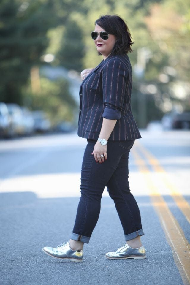 Alison Gary of Wardrobe Oxygen wearing Talbots Varisty Stripe Blazer, Gap Real Straight Jeans, and shiny silver Bass oxfords
