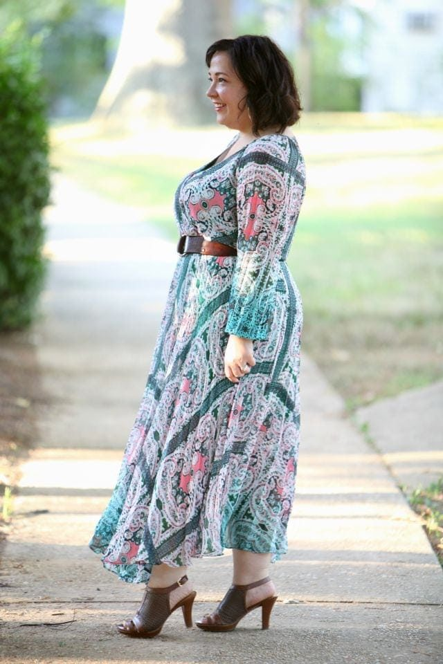 Wardrobe Oxygen featuring a Charlie Jade paisley chiffon maxi dress and vintage leather belt