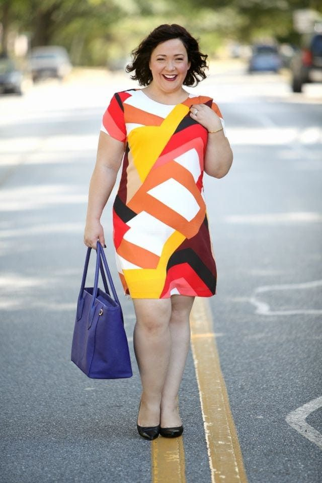 Wardrobe Oxygen featuring a Vince Camuto shift dress and Dagne Dover tote