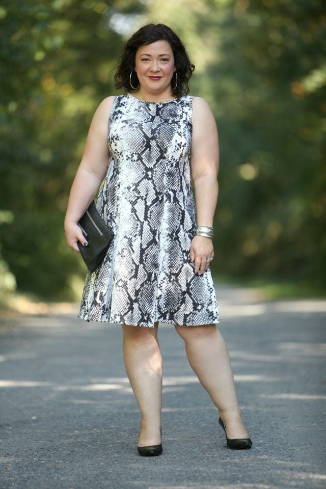 Wardrobe Oxygen featuring a snakeprint scuba knit fit and flare dress from karen kane via gwynnie bee