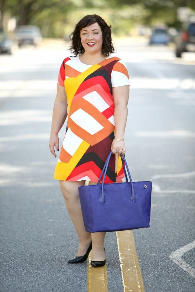 Wardrobe Oxygen outfit post featuring Vince Camuto dress and Dagne Dover tote