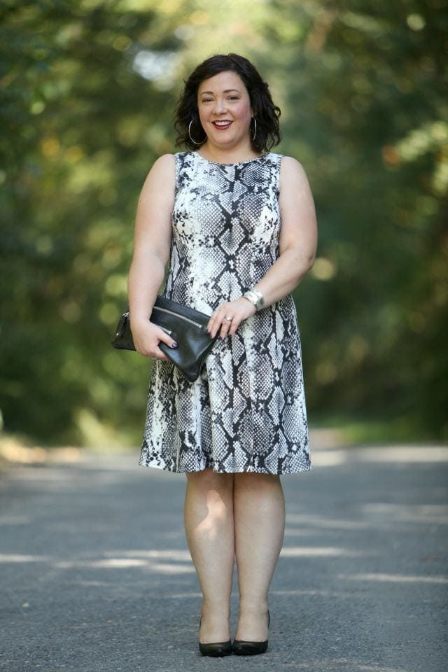 Wardrobe Oxygen wearing a snake print dress from Karen Kane via Gwynnie Bee