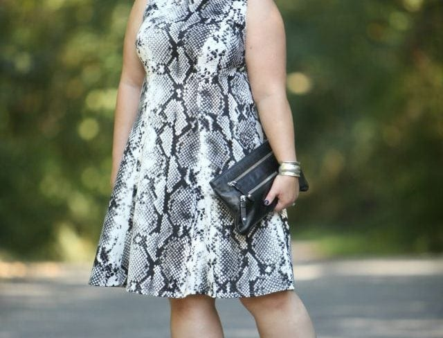 What I Wore: Slither Wardrobe Oxygen wearing a snakeprint Karen Kane dress via Gwynnie Bee