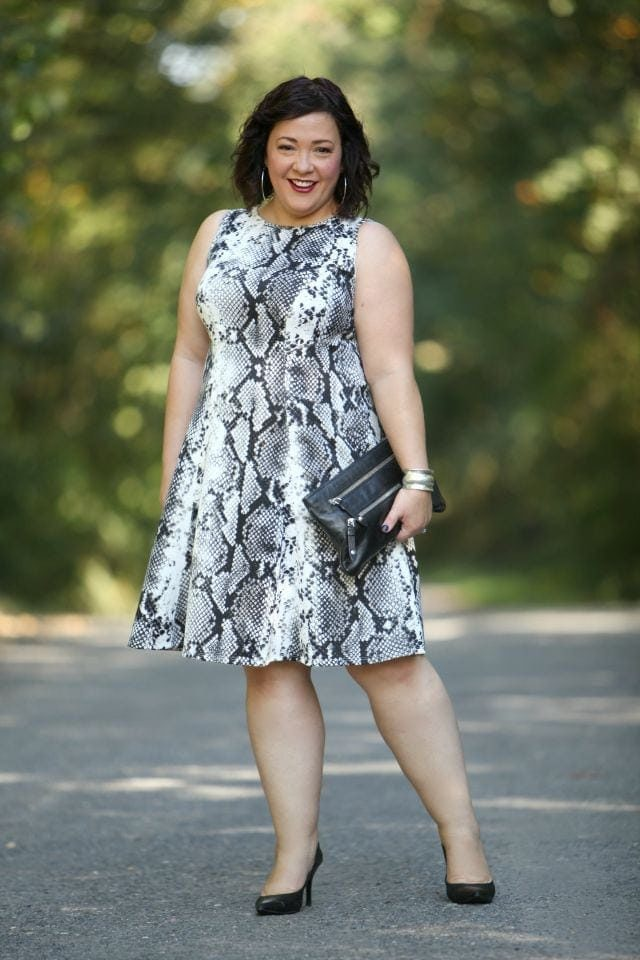 Wardrobe Oxygen wearing a snakeprint Karen Kane dress via Gwynnie Bee