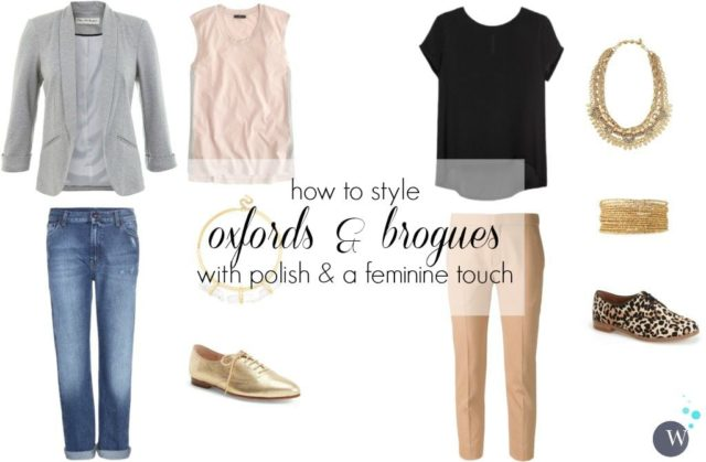 how to style oxfords brogues and loafers with polish and a feminine touch