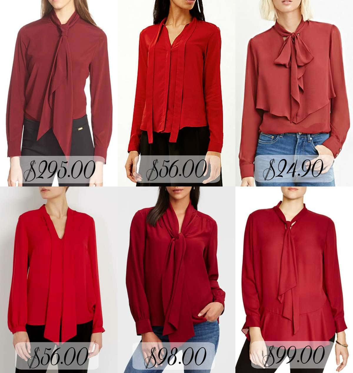 The Look for Less - Red Tie Neck Blouses