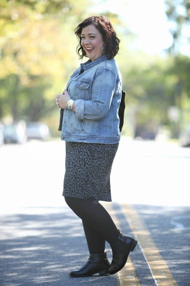 Wardrobe Oxygen featuring a J. Crew Factory denim jacket with a Talbots leopard ponte dress and Vionic Chelsea boots