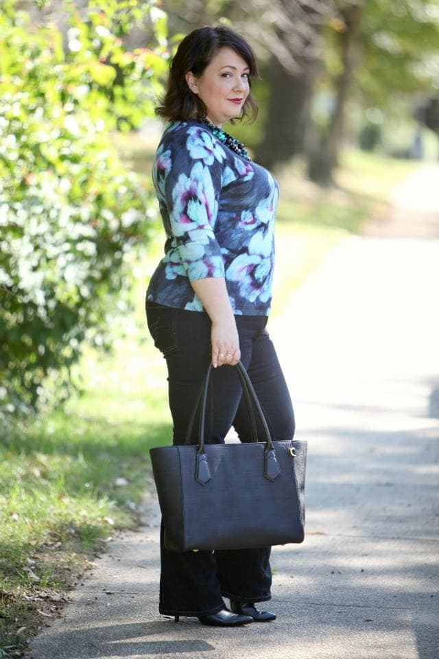Wardrobe Oxygen featuring a Talbots floral sweater Jag Jeans and a Dagne Dover tote
