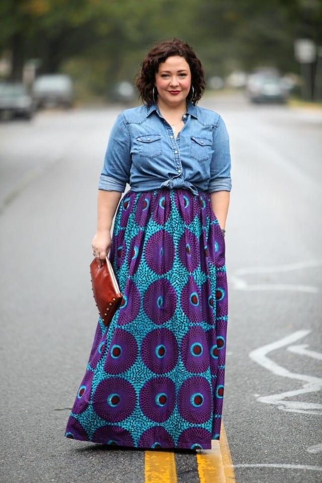 Wardrobe Oxygen featuring an Ankara maxi skirt Gap denim shirt and clutch bag from Brynn Capella