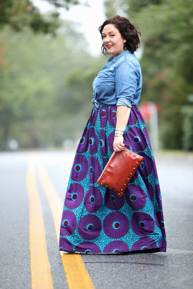 Wardrobe Oxygen featuring an Ankara maxi skirt with a denim shirt and Brynn Capella clutch bag