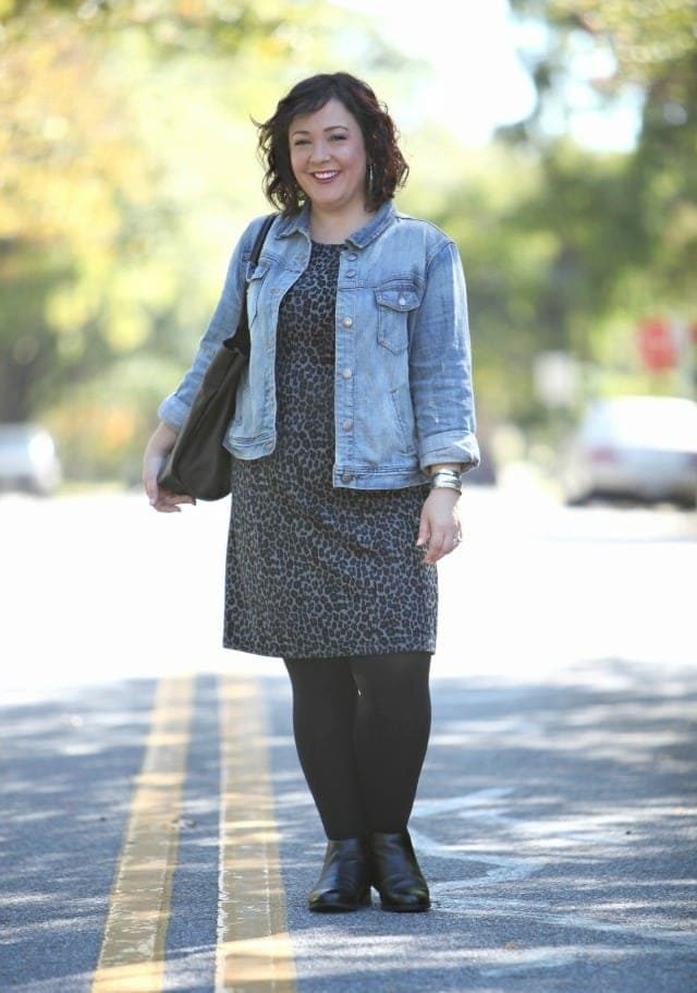 Wardrobe Oxygen wearing a Talbots leopard ponte dress and J. Crew Factory denim jacket