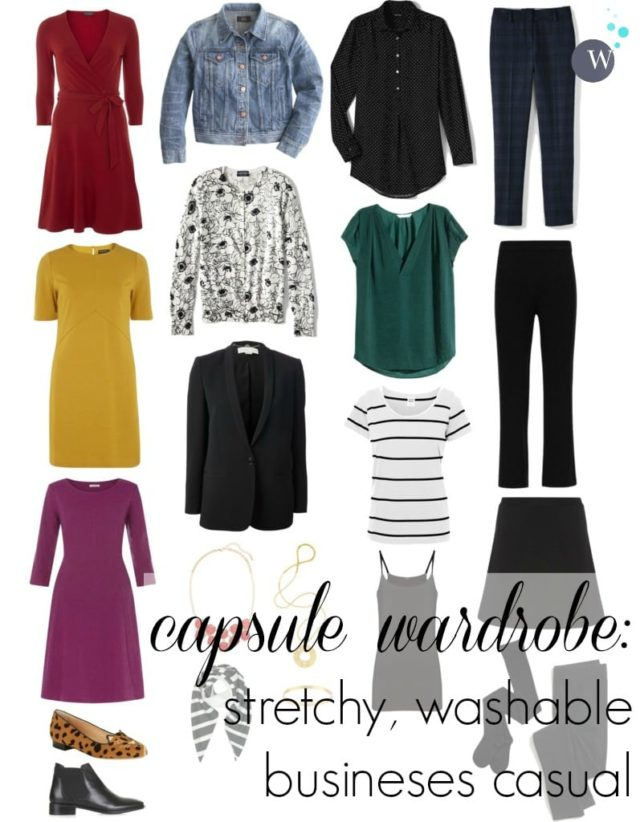 capsule wardrobe business casual stretch washable