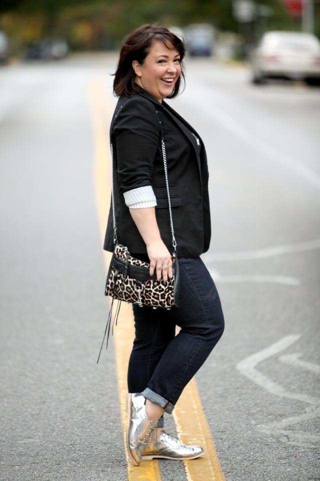 wardrobe oxygen featuring a leopard calfhair mini mac from rebecca minkoff with a blazer jeans and silver brogues