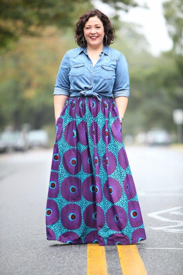 wardrobe oxygen featuring an ankara maxi skirt from Etsy and a Gap western denim shirt