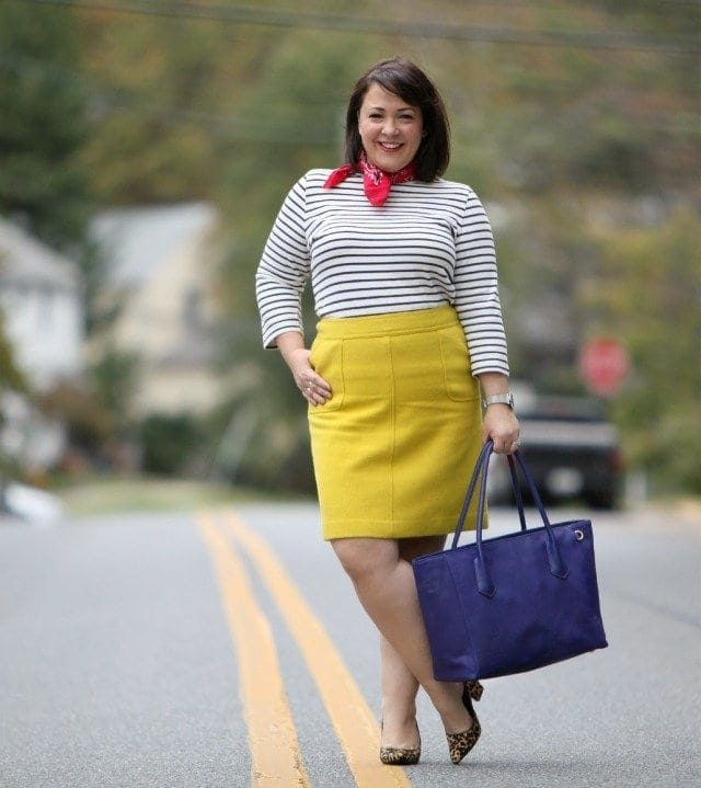 wardrobe oxygen wearing a Lands End Breton top Talbots Skirt and Dagne Dover tote