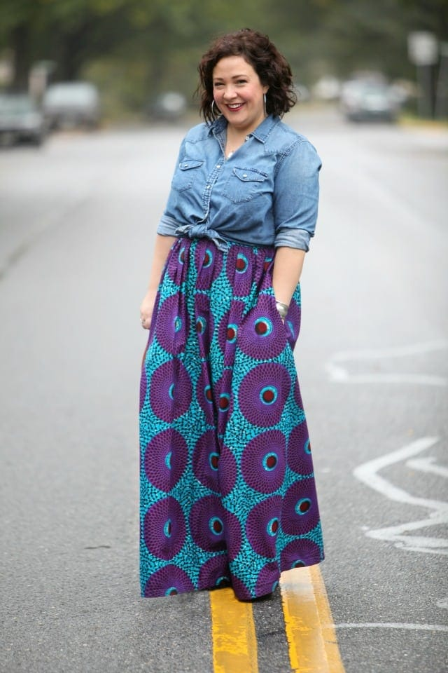 wardrobe oxygen wearing an ankara skirt and denim shirt outfit of the day over 40 fashion blog