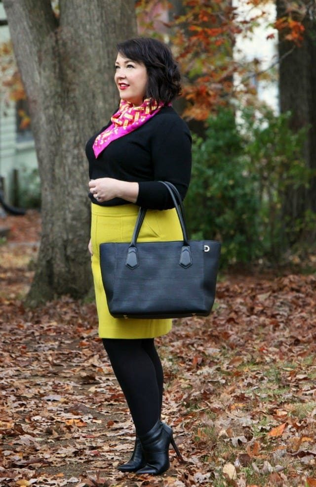 Wardrobe Oxygen wearing a Dagne Dover tote with Hermes scarf and Talbots skirt