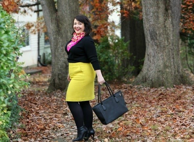 Wardrobe Oxygen wearing a Talbots Skirt with Dagne Dover tote and Hermes scarf