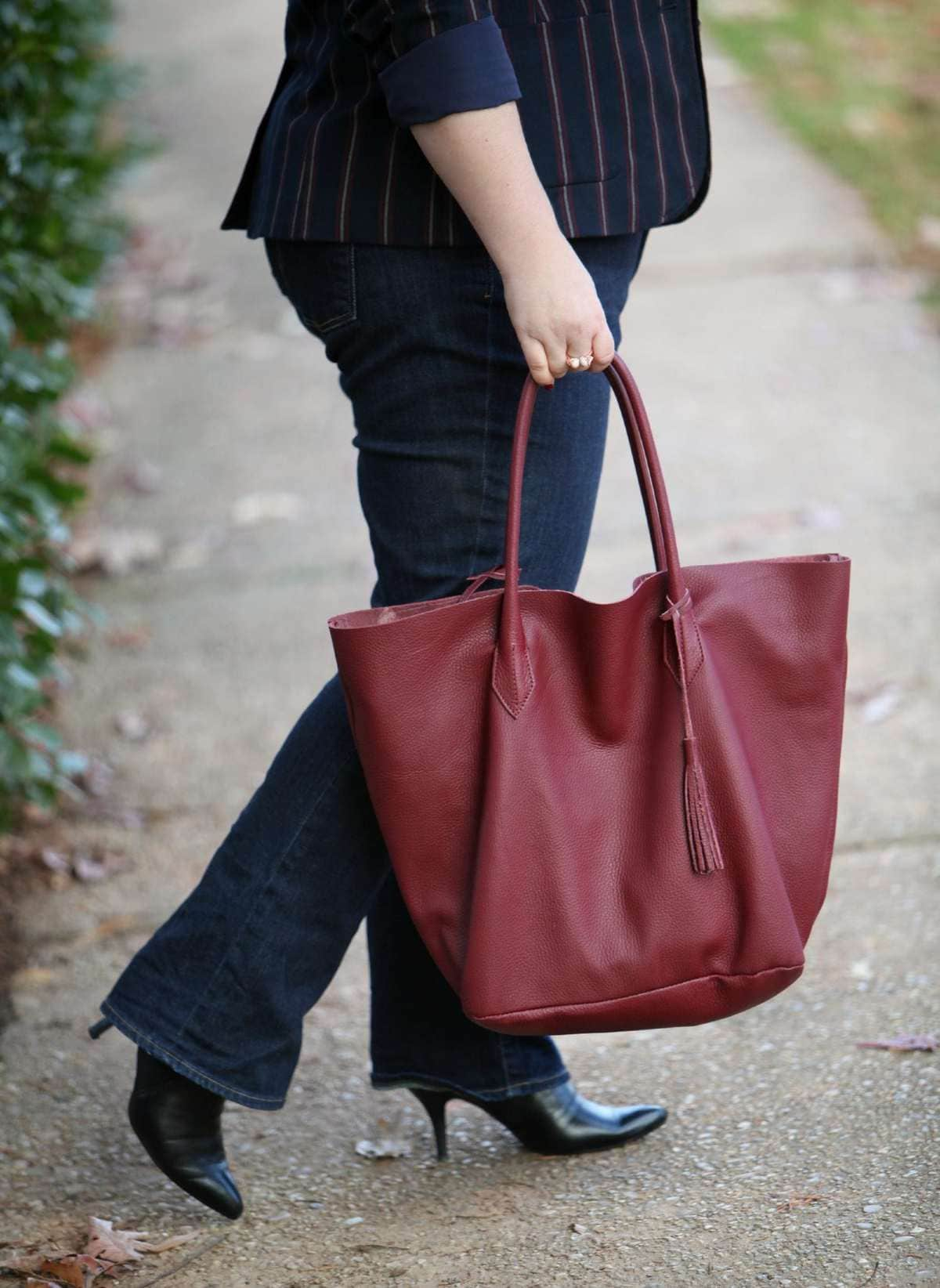 ADORA Bags Tote in Limited Editon Marsala leather in time for the holidays, only at Wardrobe Oxygen