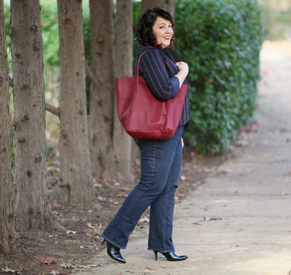 Wardrobe Oxygen wearing a blazer and jeans from Talbots with ADORA Bags tote in Limited Edition Marsala Leather