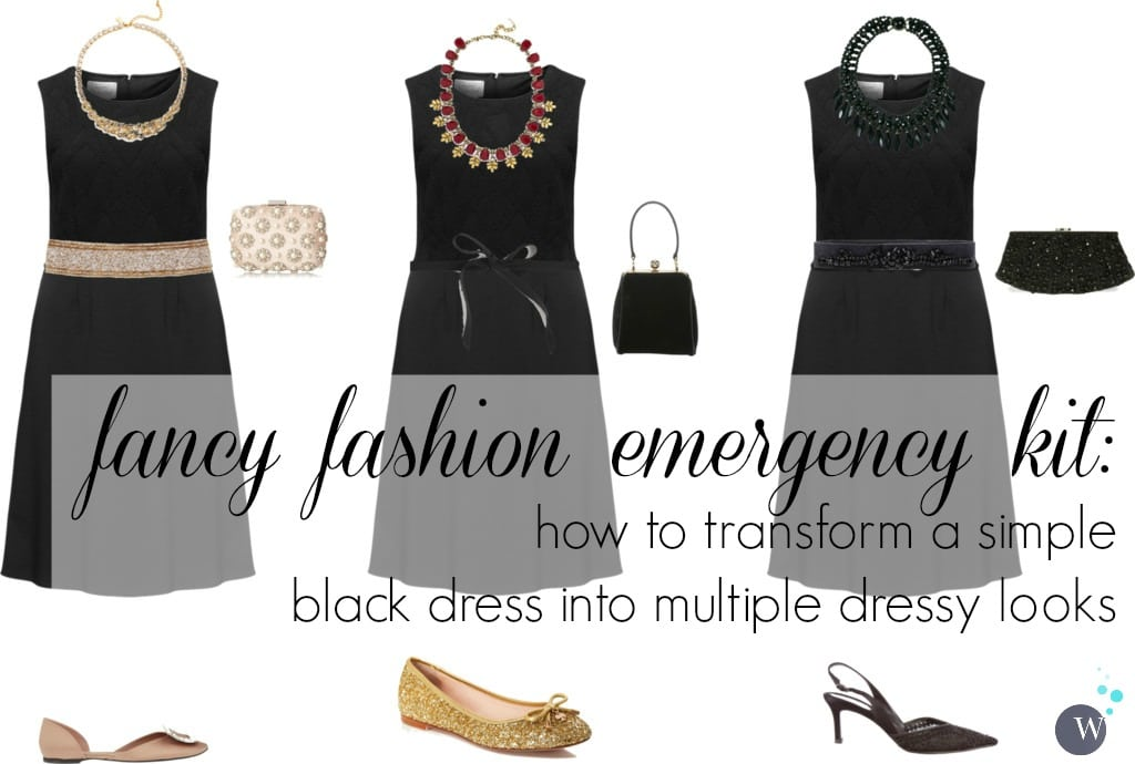 how to transform a simple black dress into multiple dressy looks