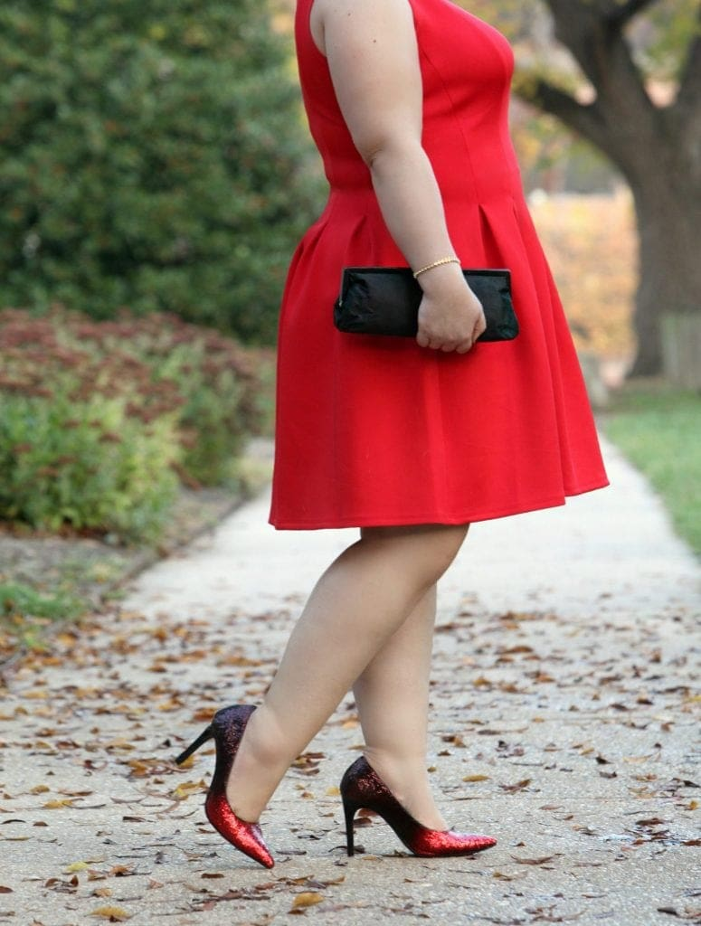 Wardrobe Oxygen wearing an Ann Taylor dress with Payless Klaudie Ombre Glitter Pumps