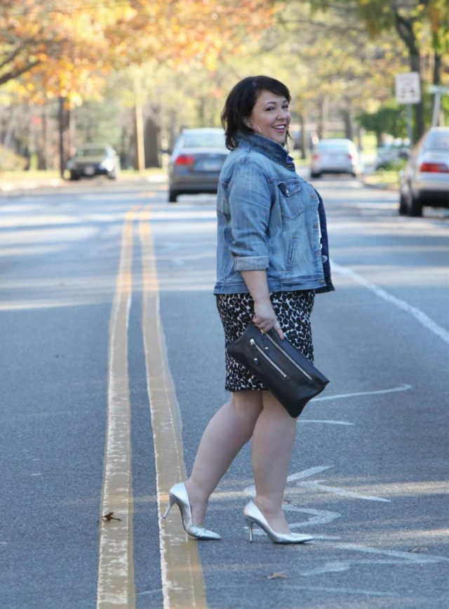 Wardrobe Oxygen wearing a J. Crew Factory denim jacket and leopard skirt and Nine West silver pumps
