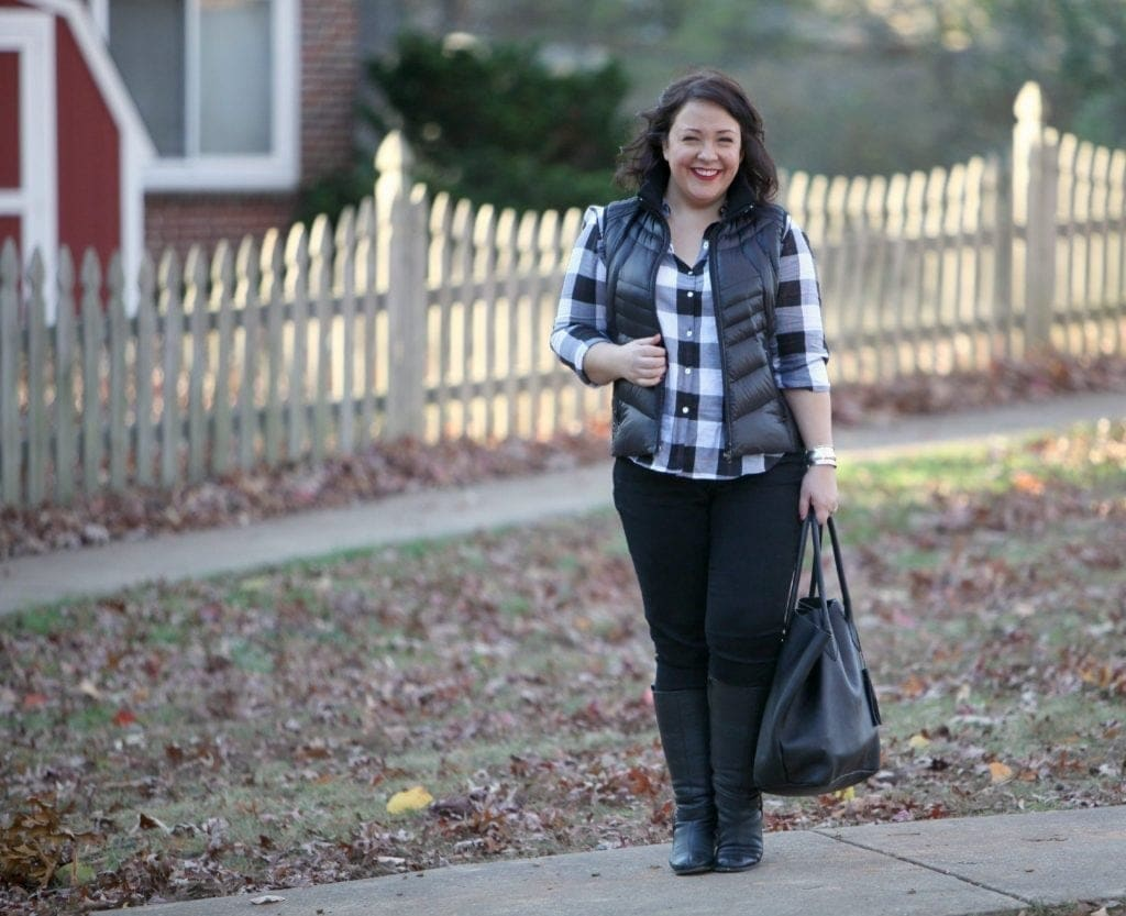 Wardrobe Oxygen featuring a Foxcroft plaid shirt, Bernardo vest, and Adora Bags leather tote What I Wore: Weekend Style