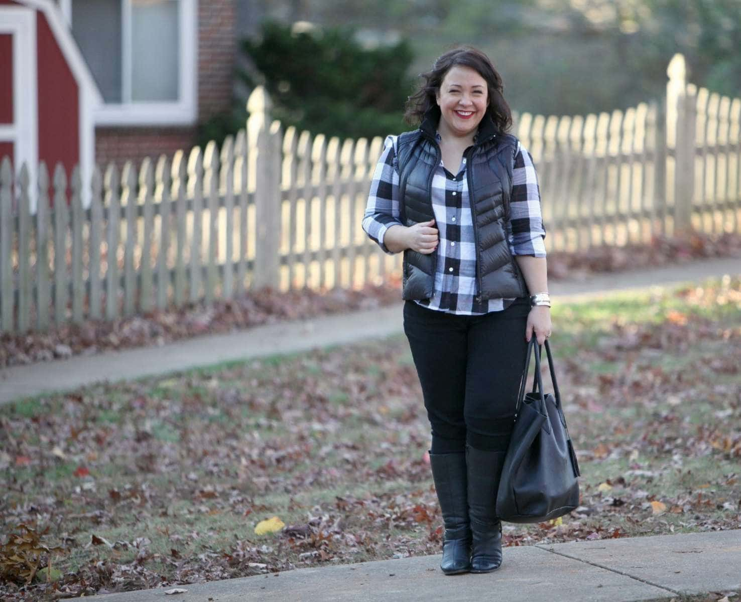 Wardrobe Oxygen featuring a Foxcroft plaid shirt, Bernardo vest, and Adora Bags leather tote