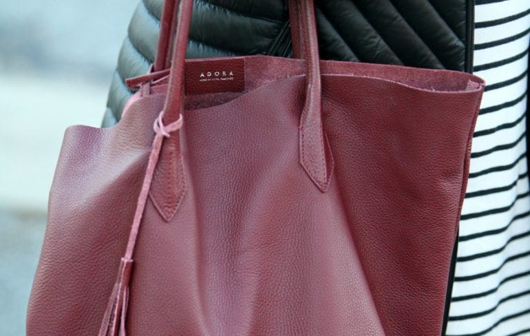 ADORA bags tote in limited edition marsala color