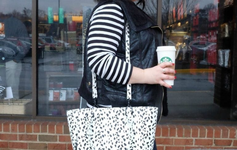 What I Wore: No Red Cups Wardrobe Oxygen wearing a Modamix vest from Gwynnie Bee, JAG Jeans Foster Bootcut, and Dagne Dover limited edition Mini Tote in leather
